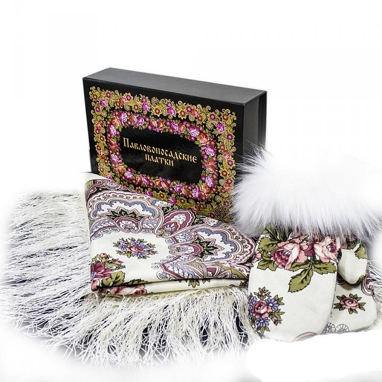 Павлопосадский платок Набор платок Журавушка 527-1 варежки с песцом и коробка