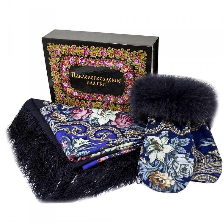 Павлопосадский платок Набор платок Тайна сердца 1437-14 варежки с песцом и коробка, фотография 3