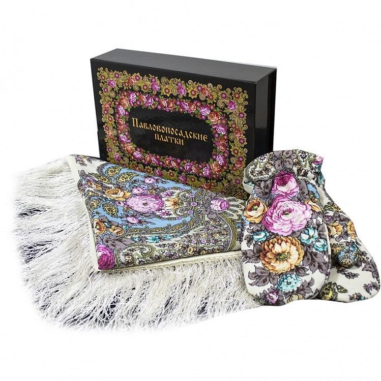 Павлопосадский платок Набор платок Весенний ручеек 1428-3 варежки без меха и коробка, фотография 5