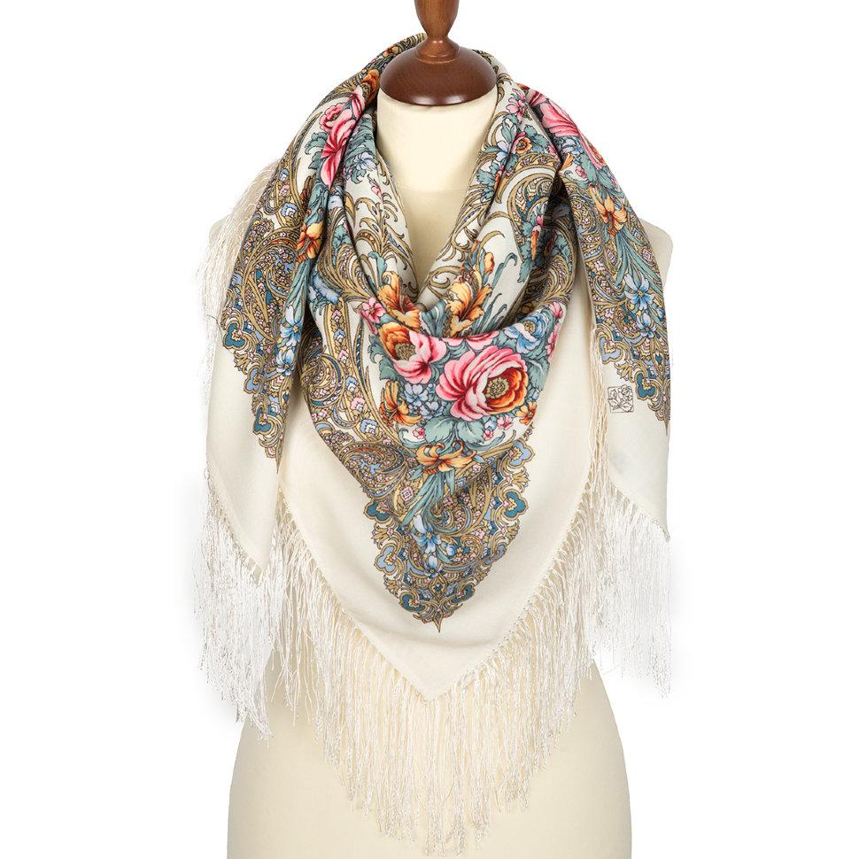 белый павлопосадский платок купить